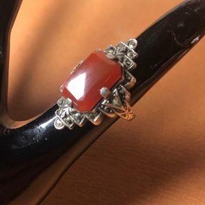 VTG Art Deco Carnelian & Marcasite Ring